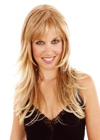 Long Flicked Blonde Womens Wig