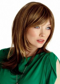 Long Brown Fringed Ladies Wig