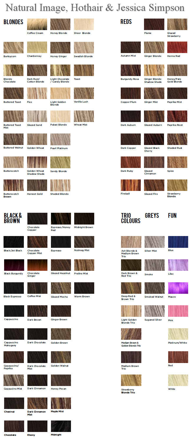 Color chart for wigs - Hothair And Natural Image Wigs Colour Chart